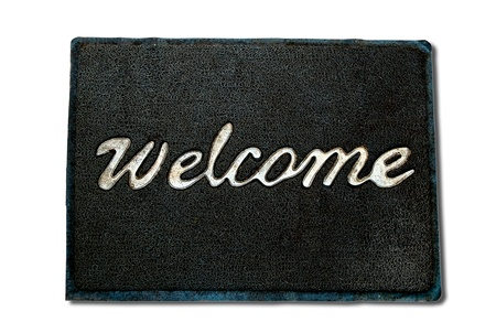 welcome mat: The Doormat of welcome text isolated on white background