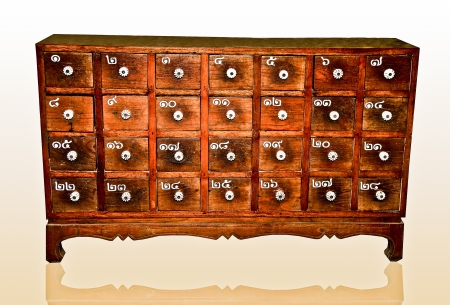 The Wooden cabinet with square drawers and white handle isolated on reflect background photo