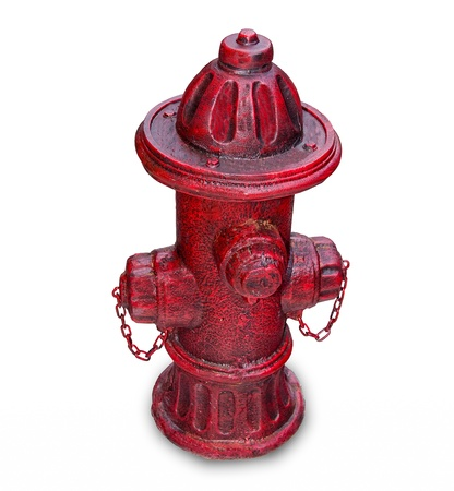 The Old red hydrant for fire fighting isolated on white background photo