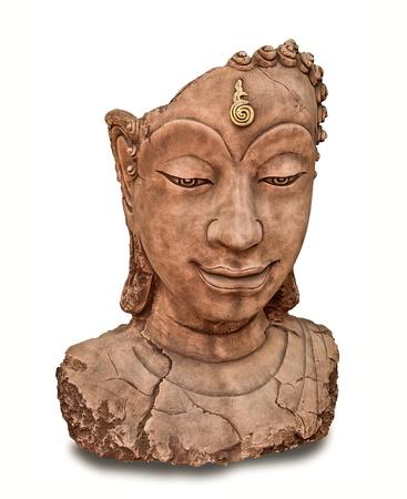 The Ruin of buddha status isolated on white background photo