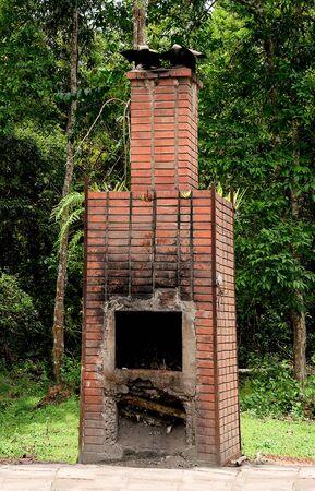 The Brick fireplace of burner garbage photo