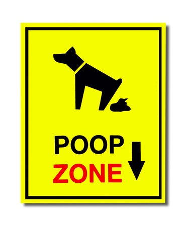 The Sign of dog poop zone isolated on white background Stock Photo - 14105076