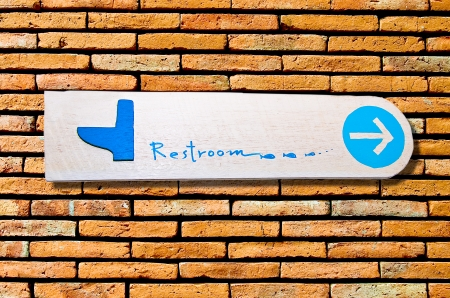 The Sign of restroom on wall background photo