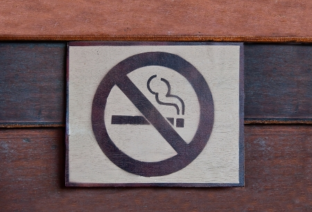 The Sign of no smoking  on wood background photo