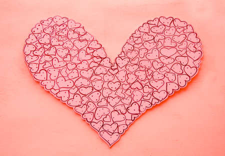 The Heart shape paper decoration on wall photo