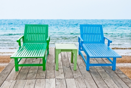 teck: The Color of long chair on beach Stock Photo