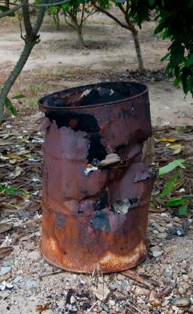 The Old trashcan of burner waste photo