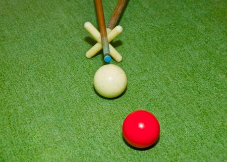 The Two balls on  snooker table photo