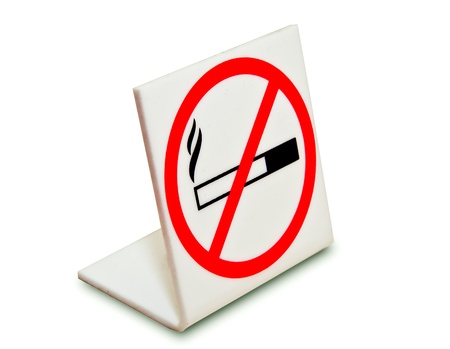The Sign of no smoking isolated on white background photo