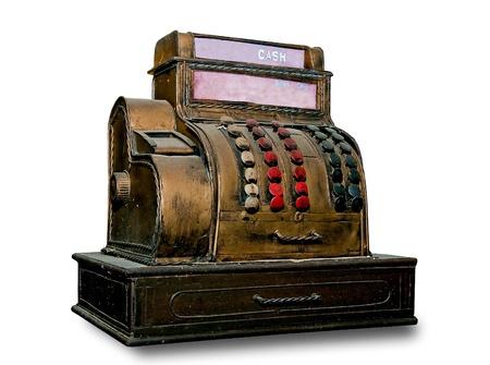 The Vintage slot machine isolated on white background photo