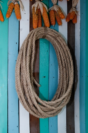 The Rope on wooden wall photo