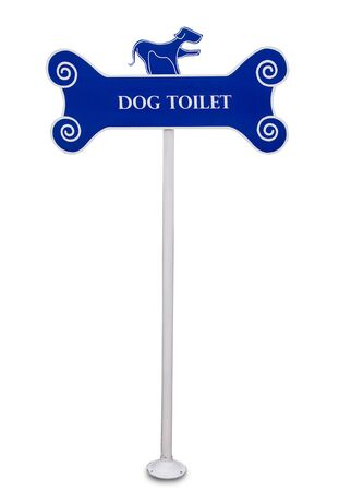 The Sign pole of dog toilet isolated on white background photo