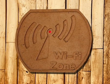wep: The Sign of wi-fi zone on wood background