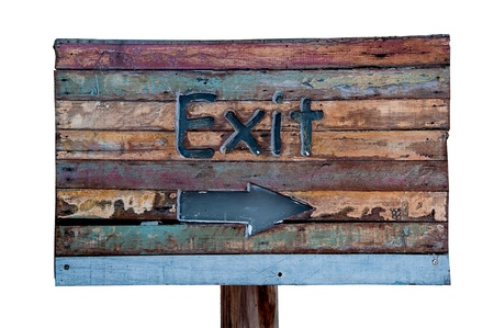 The Sign wooden of exit way isolated on white background photo