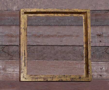 The Old wooden frame on wood wall photo