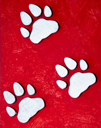 Paw prints on grunge background photo