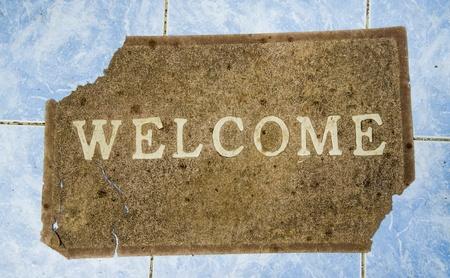 The Ruin Doormat of welcome text  on floor background photo