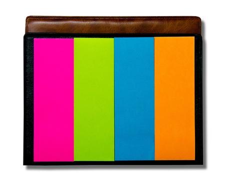 Colorful of postit isolated on white background photo
