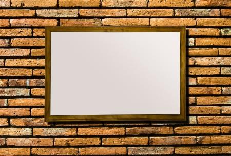 Blank of billboard on brickwall background photo