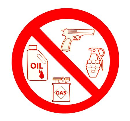 Sign of no gun and grenade and oil and gas isolated on white background photo