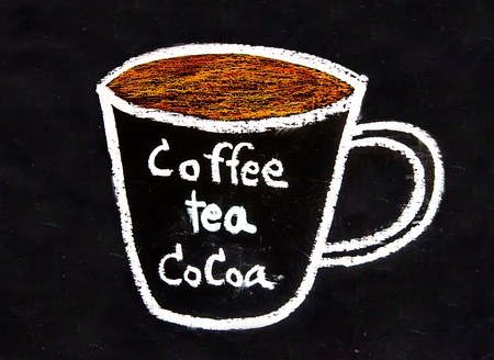 Sketch chalk cup of coffee and tea and cocoa on blackboard photo