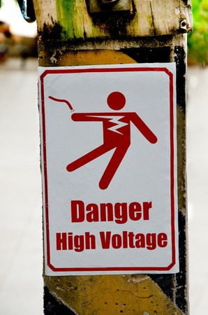 Beware of electric shock photo