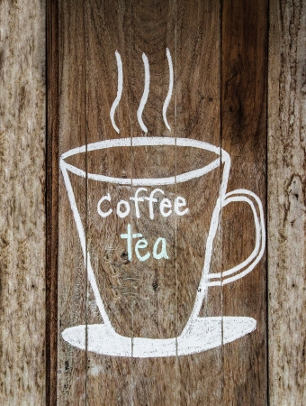 Sketch chalk cup of coffee and tea on wood w photo