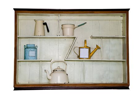 Wooden shelf in kitchen photo
