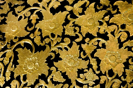 Golden flower of bas-relief  pattern thai style Stock Photo - 17467538