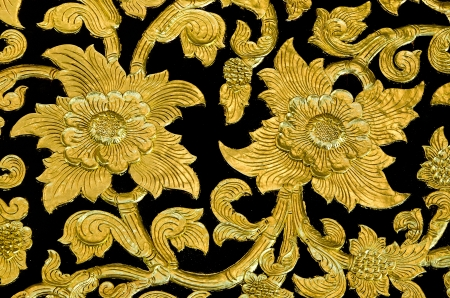 Golden flower of bas-relief  pattern thai style Stock Photo - 17467587