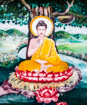 Thai painting art about buddha status on wall of the temple.