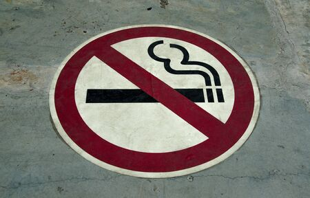 Sign of no smoking on floor background photo