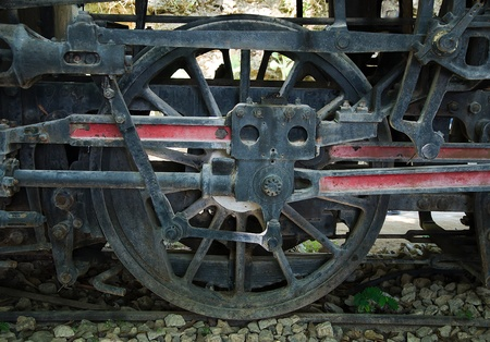 Old steam locomotive wheel and coupling rods photo