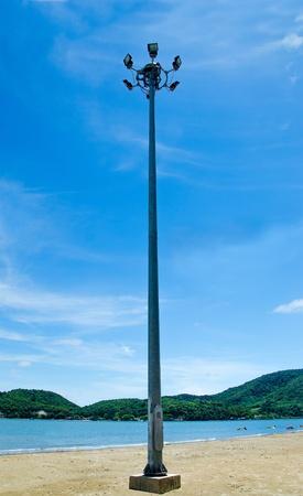 Light pole on beach photo