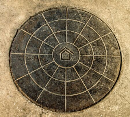 Rusty circle steel of logo home photo
