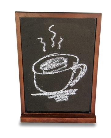 Blackboard of menu coffee isolated on white background photo