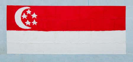 singaporean flag: Painting flag of   singapore on wall