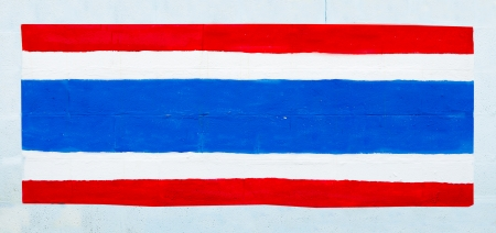 Painting flag of thailand on wall photo