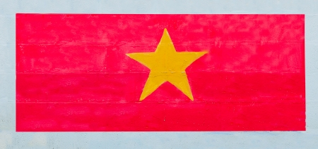 Painting flag of   vietnam on wall photo