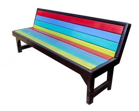 Colorful of wooden bench isolated on white background Stock Photo - 20097354