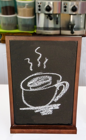 theorem: Blackboard of menu coffee in coffeeshop Stock Photo