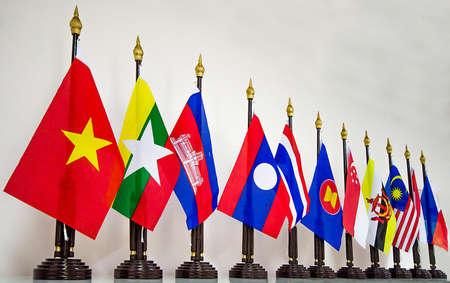 Bandera de la AEC (ASEAN ECONOM�A SOCIAL) Foto de archivo - 20323463