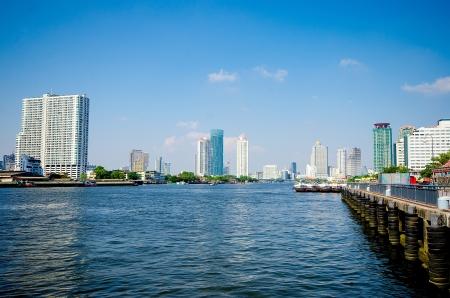 chao praya: Bangkok city along chao praya river,Thailand Stock Photo