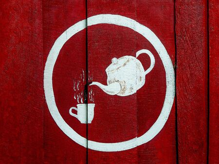 Painting sign hot coffee  on wood wall photo