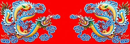 dragon tattoo: Colorful of twin dragon on wall of  joss house