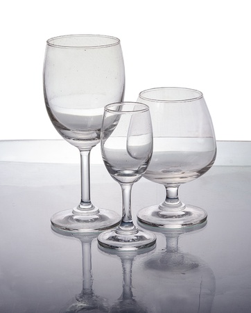 Empty wine glass  on reflect background
