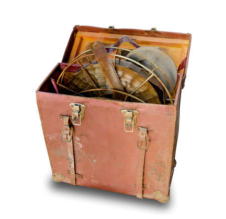 Old leather bag of film isolated on white background photo