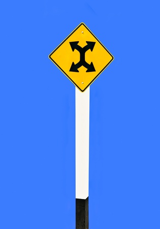 Guide post turn left and turn right isolated on blue background Stock Photo