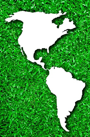 Shape of Usa on green grass background photo