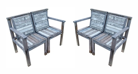 Couple of  wood chairs isolated white background photo